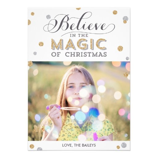 Christmas Magic Holiday Photo Cards - White Invite