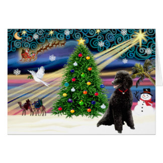 Christmas Magic Poodle (black Standard) Greeting Card