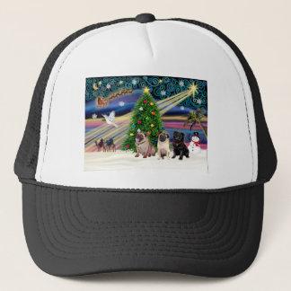 Christmas Magic / Pugs (three, 2+1Blk) Trucker Hat