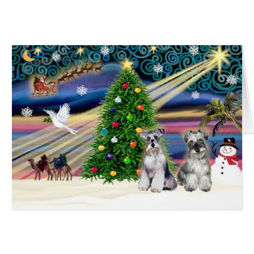 Christmas Magic Schnauzers (two) Greeting Cards