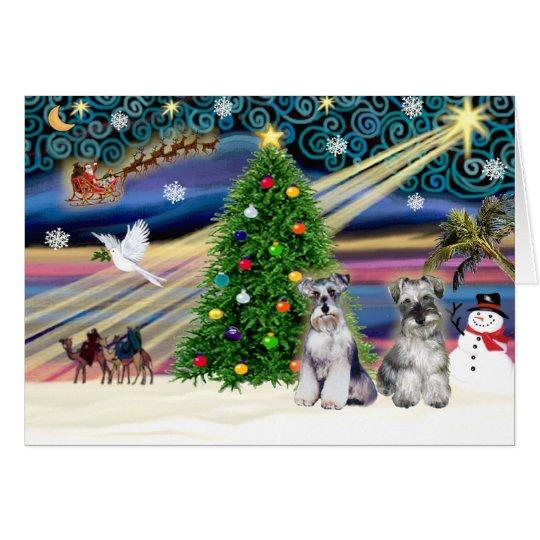 Christmas Magic Schnauzers (two) Card