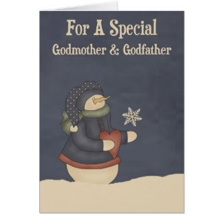 Christmas Magic Snowflake Godmother & Godfather Card