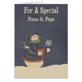 Christmas Magic Snowflake Nana & Papa Greeting Card