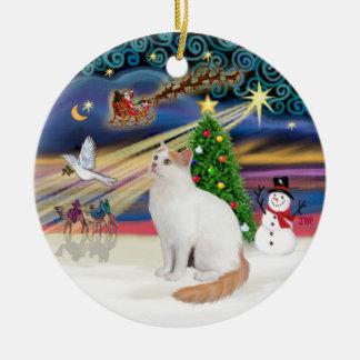 Christmas Magic - Turkish Van Cat Round Ceramic Decoration