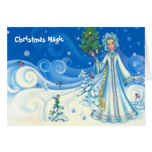 Christmas magic, Vintage snow maiden design Card