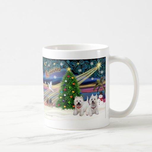 Christmas Magic West Highland Terrier (two) Basic White Mug
