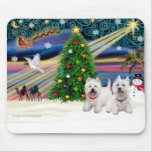 Christmas Magic West Highland Terrier (two) Mouse Mat
