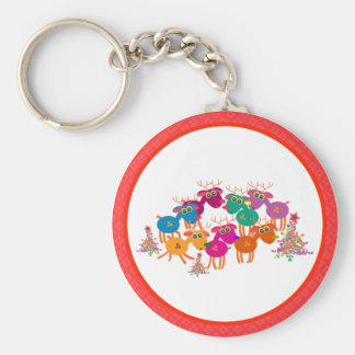 Christmas Magnets Key Chains Buttons: 7 Deers II
