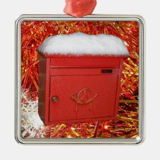 Christmas Mail Square Metal Christmas Ornament