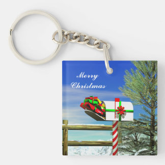Christmas Mailbox Double-Sided Square Acrylic Key Ring