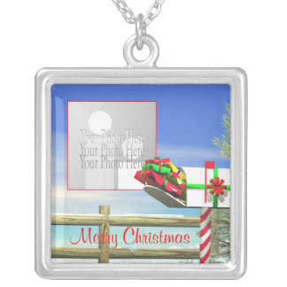 Christmas Mailbox (photo frame) Square Pendant Necklace