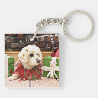 Christmas - MaltiPoo - Baxter Double-Sided Square Acrylic Key Ring
