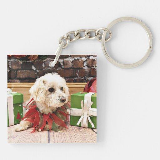 Christmas - MaltiPoo - Baxter Acrylic Key Chains