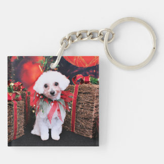 Christmas - MaltiPoo - Molly Double-Sided Square Acrylic Key Ring