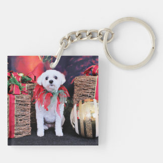 Christmas - MaltiPoo - Taz Double-Sided Square Acrylic Key Ring