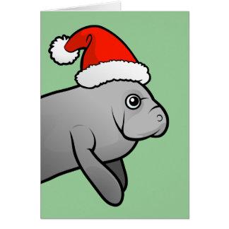 Christmas Manatee Santa Card