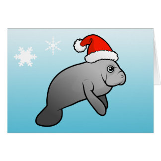 Christmas Manatee Santa Greeting Card