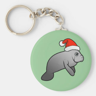 Christmas Manatee Santa Key Ring