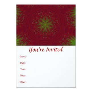 Christmas Mandala in Red and Green 13 Cm X 18 Cm Invitation Card