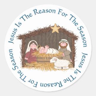Christmas Manger / Jesus Reason Classic Round Sticker