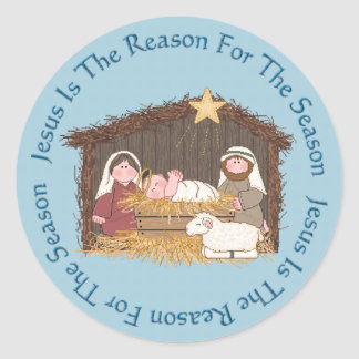 Christmas Manger / Jesus Reason Round Sticker