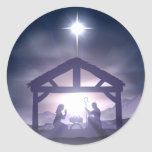 Christmas Manger Nativity Scene Round Stickers