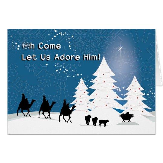 Christmas Manger Scene, Wise Men Star Card