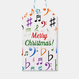 Christmas; Many Colorful Music Notes and Symbols Gift Tags
