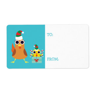 Christmas Maria & Bandit the Chickens Shipping Label
