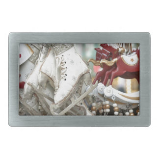 Christmas Market Shopping Festive Scene Belt Buckle
