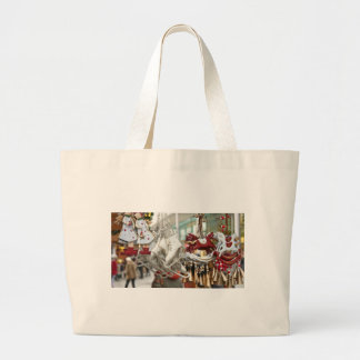 Christmas Market Shopping Festive Scene Large Tote Bag