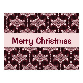 Christmas Maroon Art Deco Pattern Postcard