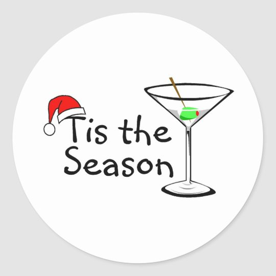 Christmas Martini Tis The Season Classic Round Sticker