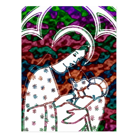 Christmas Mary and Baby Jesus Art Postcard