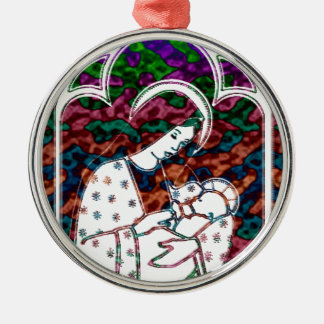 Christmas Mary and Baby Jesus Art Silver-Colored Round Decoration