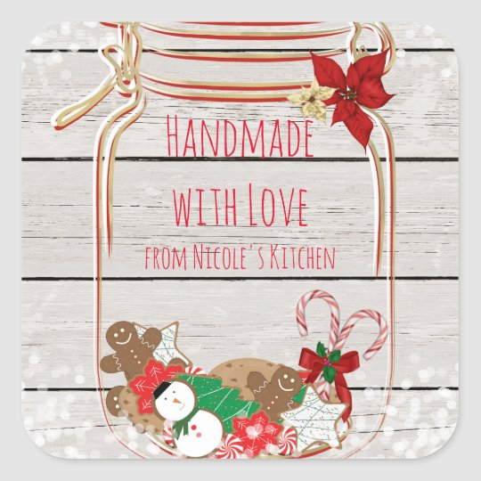 Christmas Mason Cookie Jar Holiday Favour Square Sticker