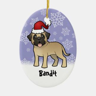 Christmas Mastiff / Bullmastiff Ceramic Oval Decoration