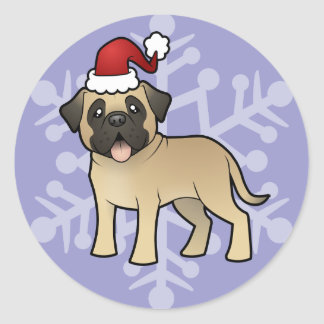 Christmas Mastiff / Bullmastiff Round Sticker
