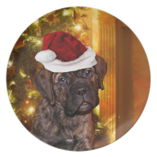 Christmas Mastiff puppy dinner plate