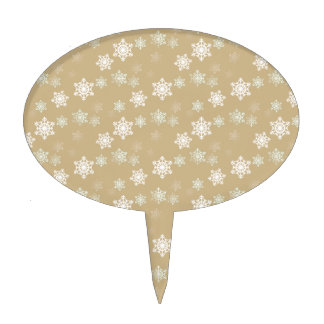 Christmas Matte Gold Snow Flakes Cake Toppers