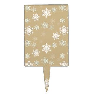 Christmas Matte Gold Snow Flakes Cake Topper
