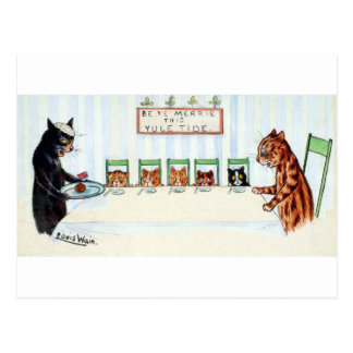 Christmas meal, Louis Wain Postcard