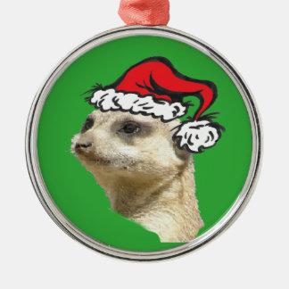 Christmas Meerkat Cust. Premium Round Ornament