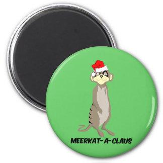 Christmas meerkat 6 cm round magnet