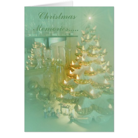 Christmas Memories...soft aqua Vintage design Card