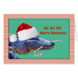 Christmas, Merry, Alligator with Santa Hat Card