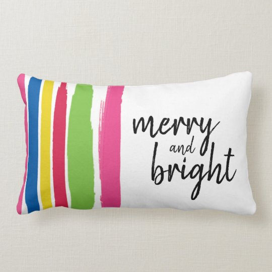 Christmas, Merry and Bright, Colourful, Strokes Lumbar Cushion