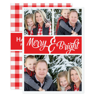Christmas Merry and Bright Red Gingham Photo 13 Cm X 18 Cm Invitation Card