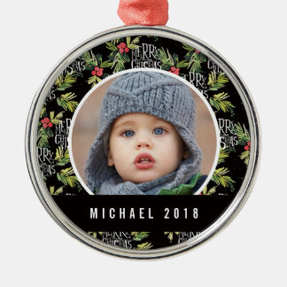 Christmas | Merry Christmas - Holly Black Pattern Christmas Ornament