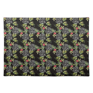Christmas   Merry Christmas - Holly Black Pattern Placemat